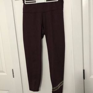 High Rise Maroon Workout Pant W/ Gold Wrap
